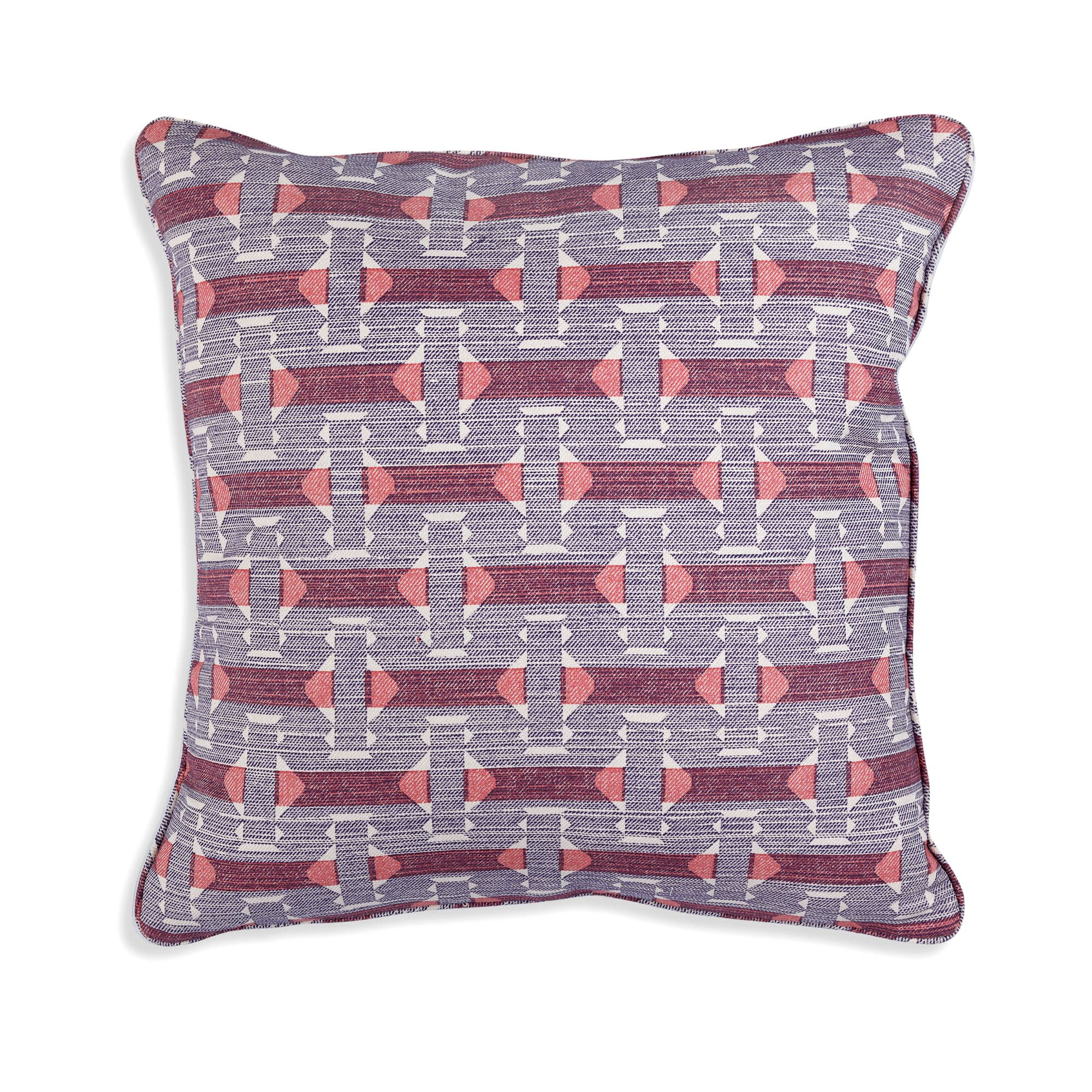 Small Square Cushion in Blue and Red Sicily