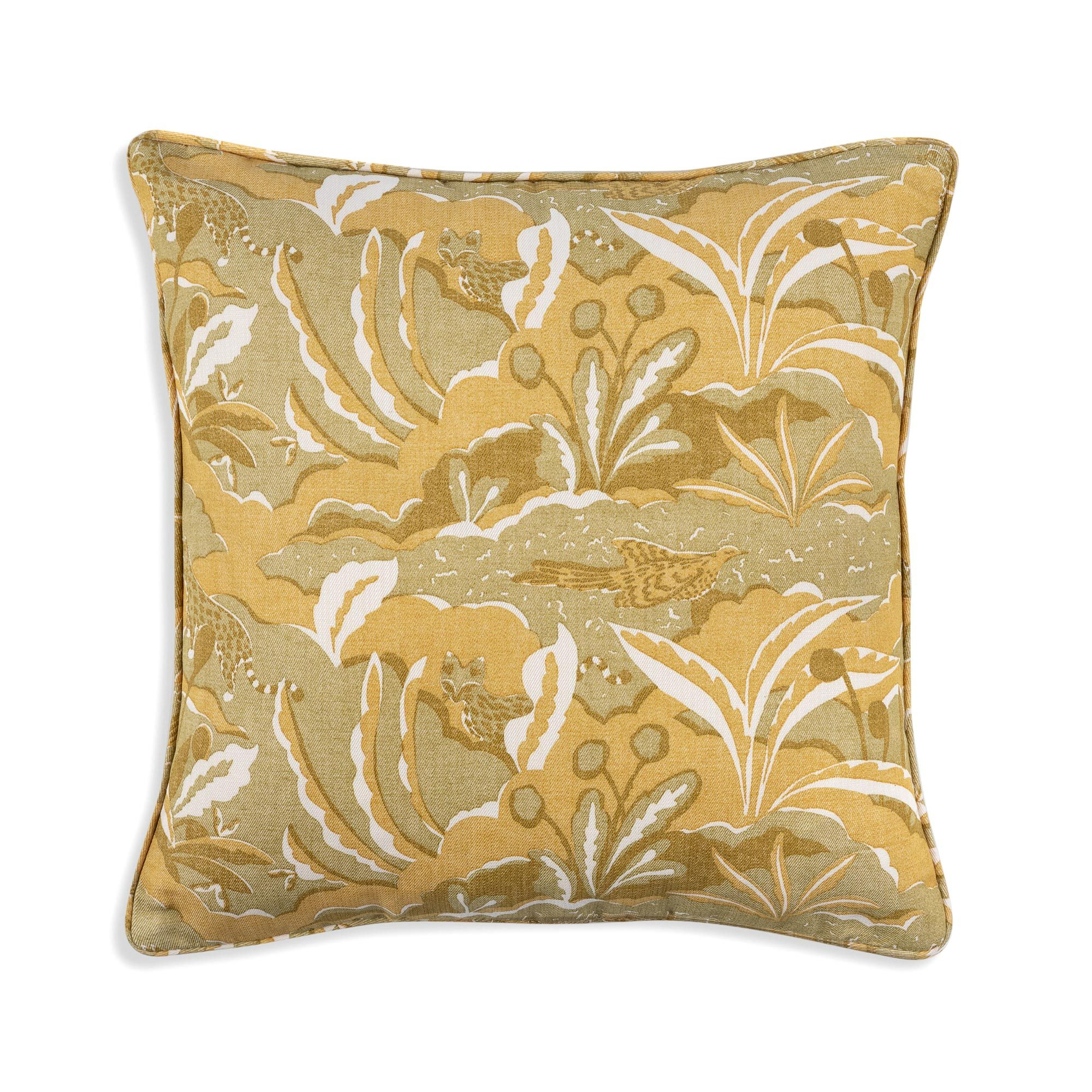 Small Square Cushion in Yellow Pangea