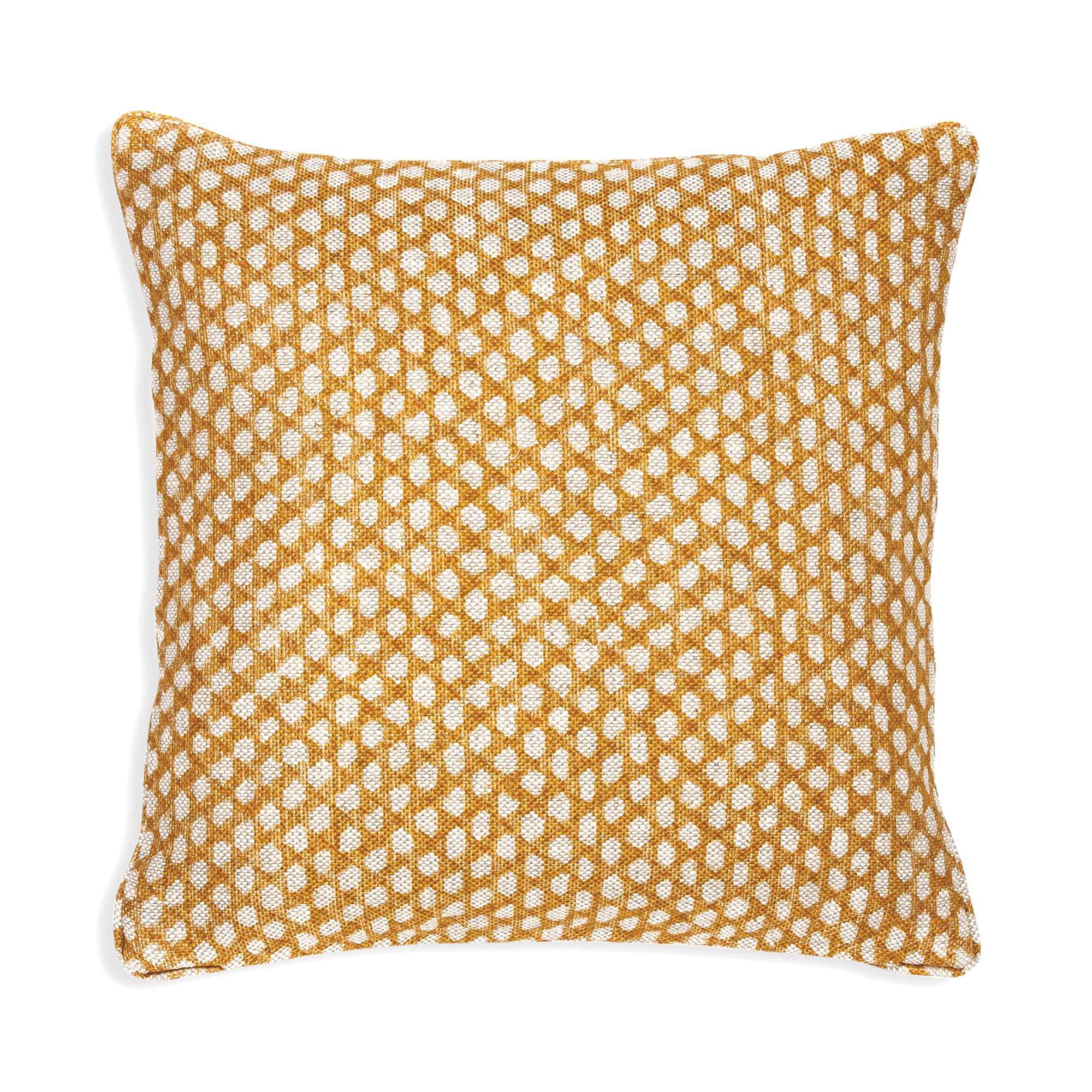 Small Square Cushion in Yellow Wicker