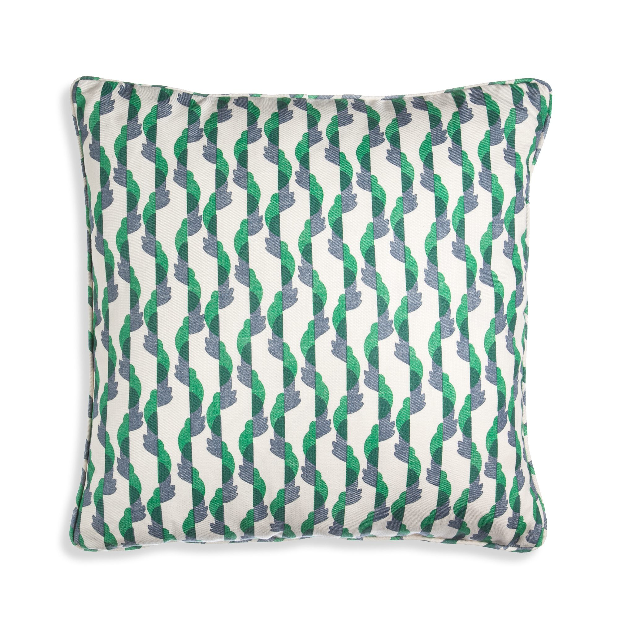 Small Square Cushion in Green and Blue Botany
