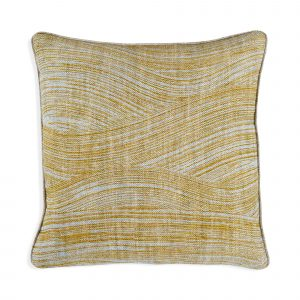 Small Square Cushion in Yellow and Sky Blue Wave